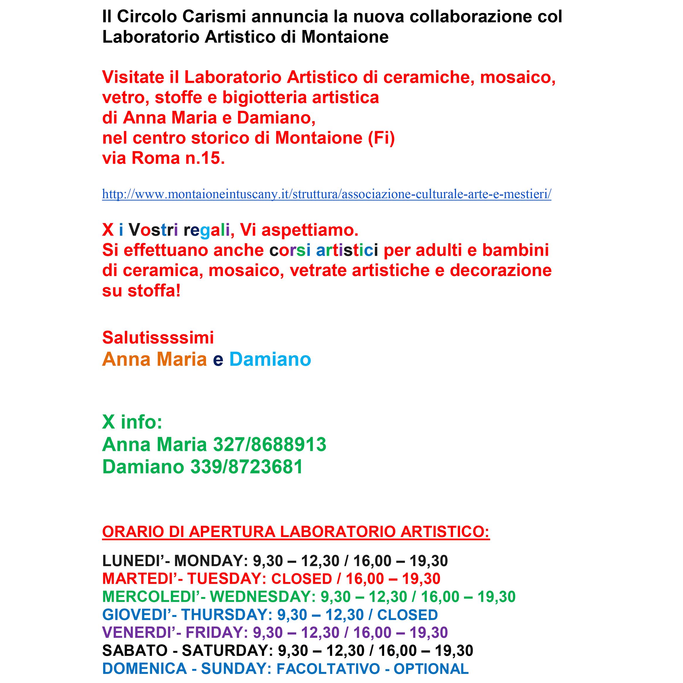 Laboratorio artistico a Montaione (FI)
